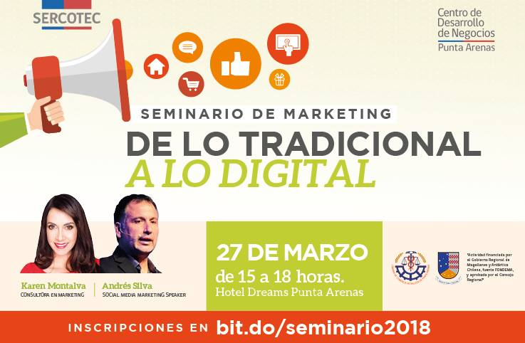 seminario de marketing y marketing digital, sercotec, punta arenas, andres silva arancibia, karen montalva, ventas, conferencias, charlas, seminarios, flumarketing